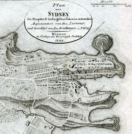 Old map of Sydney Cove and Farm Cove as it was in 1802, when Nicholas Delaney lived there