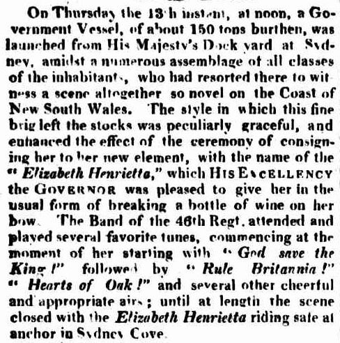 Governor Lachlan Macquarie launches a ship named after his wife on her birthday - old newspaper cutting