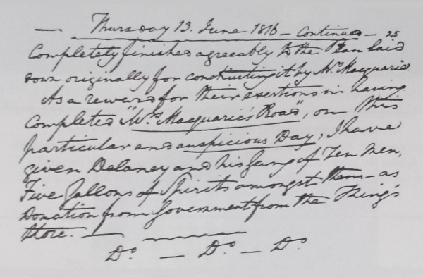 Old handwritten document - Lachlan Macquarie's journal for 13 June, 1816 part 2