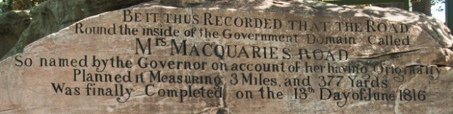 Photo of inscription on Mrs Macquarie's Chair in Sydney's Royal Botanic Garden
