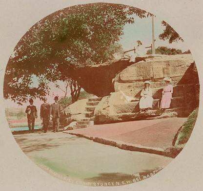 Photo of Mrs Macquarie's chair, early 20th century, from State Library of New South Wales