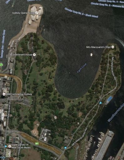 Aerial view of the old Domain area of Sydney showing Mrs Macquarie's Road, via Google Earth