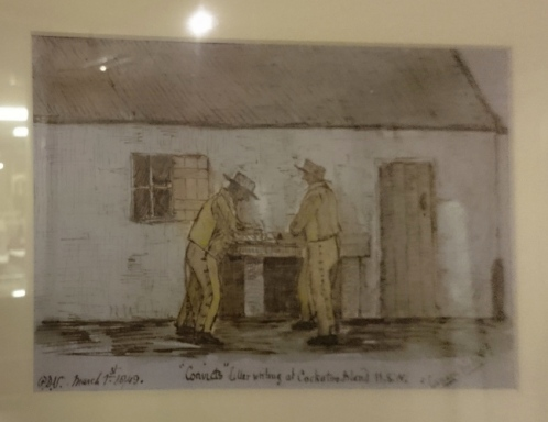Drawing of Convicts writing letters at Cockatoo Island