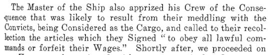 Text of Cosgreave's letter describing ocnvicts as cargo