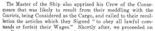 Text of Cosgreave's letter describing ocnvicts as cargo