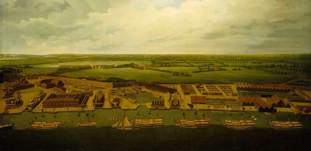 An old painting showing ships on the Thames near the dockyards at Deptford