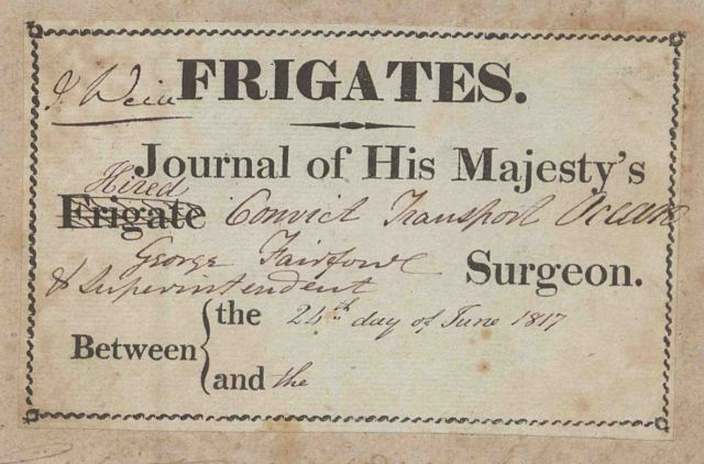 A plate from the front cover of George Fairfowl's surgeon's journal, showing the name of the ship, Ocean, and the date it sailed, 24 June 1817