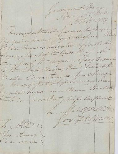Handwritten note by Governor Macquarie approving the conduct of the Surgeon Superintendant of the convict ship Ocean