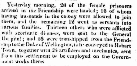 Sydney Gazette account of the women being landed