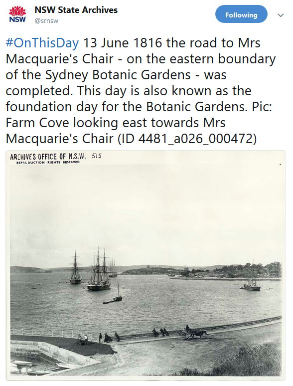 Tweet from NSW State Archives about the anniversary of the Botanic Gardens with a 19th century photo of Farm Cove