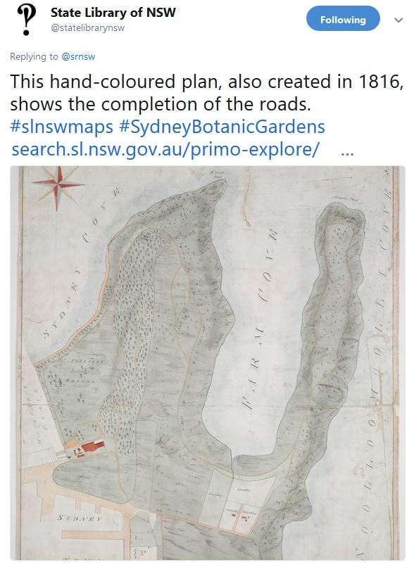Tweet with old map of the Botanic Garden roads from the State Library of NSW